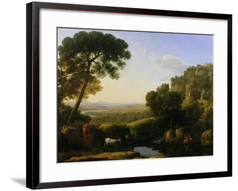 A Sunset or Landscape with Argus Guarding Io-Claude Lorraine-Framed Art Print
