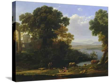 Classical River Scene with a View of a Town-Claude Lorraine-Stretched Canvas Print