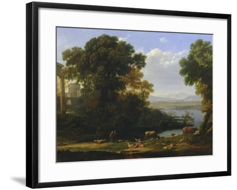 Classical River Scene with a View of a Town-Claude Lorraine-Framed Art Print