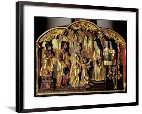Hildegard Altarpiece Depicting the Arrival of Saint Hildegard of Bingen (1098-1179) with Her…-German School-Framed Art Print