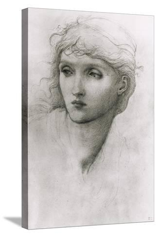 Study of a Girl's Head-Edward Burne-Jones-Stretched Canvas Print