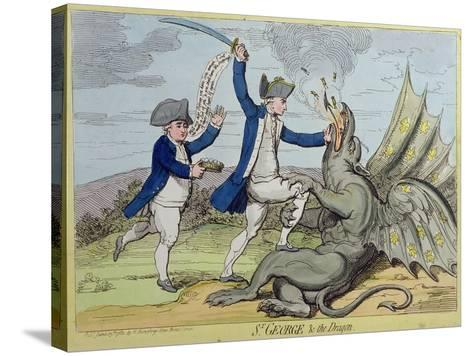 St. George and the Dragon, Published by Hannah Humphrey in 1782-James Gillray-Stretched Canvas Print