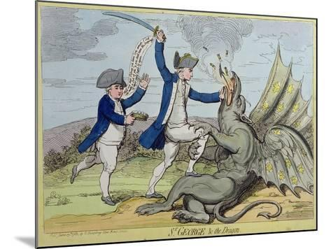 St. George and the Dragon, Published by Hannah Humphrey in 1782-James Gillray-Mounted Giclee Print