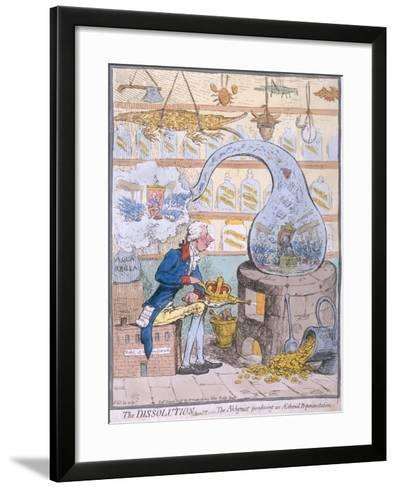 The Dissolution, or the Alchymist Producing an Aetherial Representation, Published by Hannah…-James Gillray-Framed Art Print