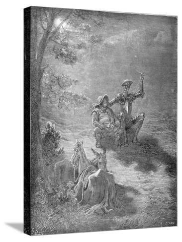 A Nocturnal Discourse, from 'Don Quixote De La Mancha' by Miguel Cervantes (1547-1616) Engraved…-Gustave Dor?-Stretched Canvas Print