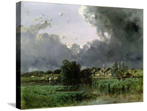 Hamlet at the Edge of a Pond, 1849-Eugene Ciceri-Stretched Canvas Print