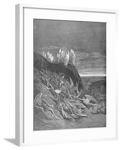 The War in Heaven, from Book VI of 'Paradise Lost' by John Milton (1608-74) Engraved by A. Ligny,…-Gustave Dor?-Framed Art Print