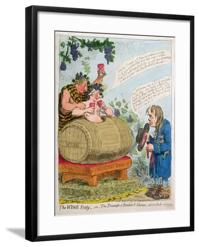 The Wine Duty, or the Triumph of Bacchus and Silenus with John Bull's Remonstrance, Published by…-James Gillray-Framed Art Print
