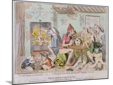 Un Petit Souper a La Parisienne, or a Family of Sans-Culottes Refreshing after the Fatigues of?-James Gillray-Mounted Giclee Print