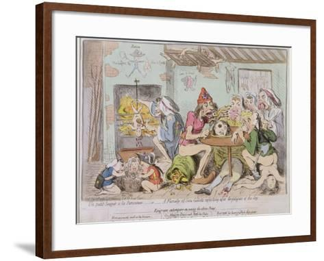 Un Petit Souper a La Parisienne, or a Family of Sans-Culottes Refreshing after the Fatigues of?-James Gillray-Framed Art Print