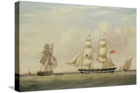 The Black Ball Line Brig, 'Wupper' Off Spurn Head, 1849-John Ward-Stretched Canvas Print