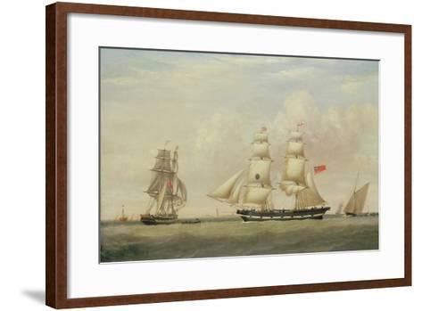 The Black Ball Line Brig, 'Wupper' Off Spurn Head, 1849-John Ward-Framed Art Print