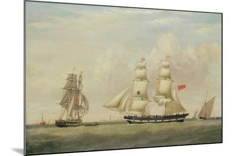 The Black Ball Line Brig, 'Wupper' Off Spurn Head, 1849-John Ward-Mounted Giclee Print