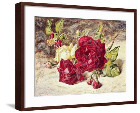 One White and Two Red Roses and Buds-Helen Cordelia Coleman Angell-Framed Art Print