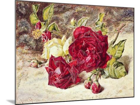One White and Two Red Roses and Buds-Helen Cordelia Coleman Angell-Mounted Giclee Print