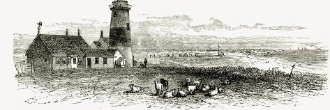 Nantucket Lighthouse, Massachusetts, C.1870, from 'American Pictures', Published by the Religious?--Stretched Canvas Print