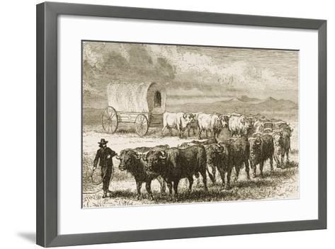 A Bullock Wagon Crossing the Great Plains Between St. Louis and Denver, C.1870, from 'American…--Framed Art Print