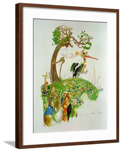The Hare and the Tortoise, from 'Fables' by Jean De La Fontaine (1621-95)-Gaston Gelibert-Framed Art Print