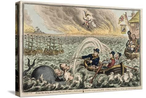 British Tars Towing the Danish Fleet into Harbour, or the Broadbottom Leviathan Trying to Swamp…-James Gillray-Stretched Canvas Print