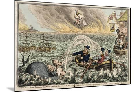 British Tars Towing the Danish Fleet into Harbour, or the Broadbottom Leviathan Trying to Swamp…-James Gillray-Mounted Giclee Print