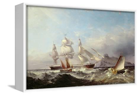 A Clipper Ship Off the Mumbles Lighthouse, Swansea-James Harris of Swansea-Framed Canvas Print