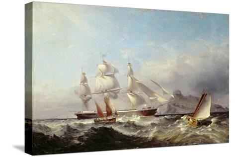 A Clipper Ship Off the Mumbles Lighthouse, Swansea-James Harris of Swansea-Stretched Canvas Print