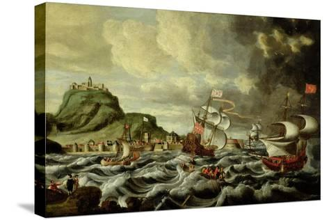 A Harbour Scene, Possibly Genoa-Andries van Eertvelt-Stretched Canvas Print
