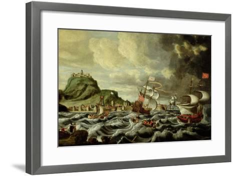 A Harbour Scene, Possibly Genoa-Andries van Eertvelt-Framed Art Print