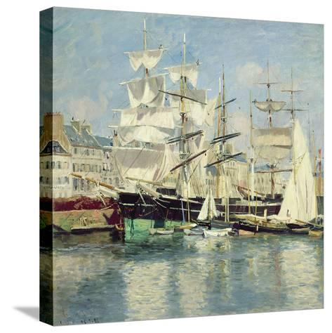 Squared - Riggers in Le Havre, 1886-Johannes Martin Grimelund-Stretched Canvas Print