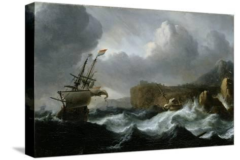 Stormy Sea-Ludolf Backhuysen-Stretched Canvas Print