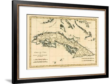 Cuba, from 'Atlas De Toutes Les Parties Connues Du Globe Terrestre' by Guillaume Raynal (1713-96)?-Charles Marie Rigobert Bonne-Framed Art Print