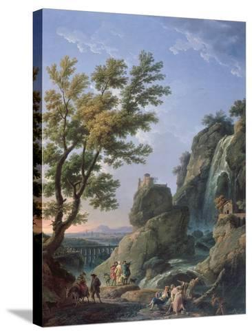 Landscape with Waterfall and Figures, 1768-Claude Joseph Vernet-Stretched Canvas Print