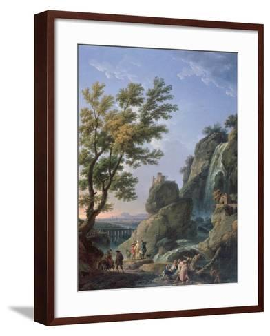 Landscape with Waterfall and Figures, 1768-Claude Joseph Vernet-Framed Art Print