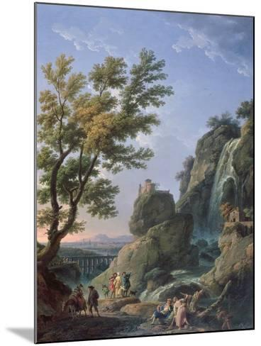Landscape with Waterfall and Figures, 1768-Claude Joseph Vernet-Mounted Giclee Print