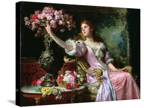 Lady with Flowers-Ladislaw von Czachorski-Stretched Canvas Print