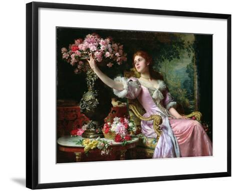 Lady with Flowers-Ladislaw von Czachorski-Framed Art Print