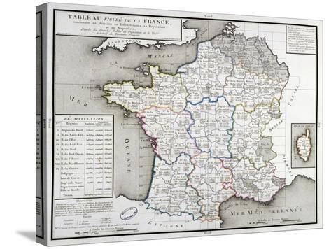 Map of France Depicting the Departmental Divisions, 1798--Stretched Canvas Print