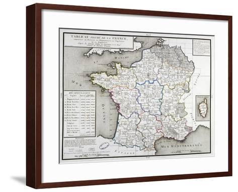 Map of France Depicting the Departmental Divisions, 1798--Framed Art Print
