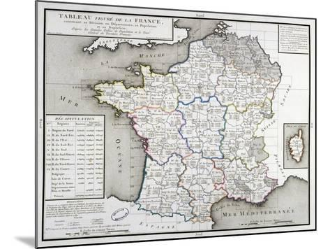 Map of France Depicting the Departmental Divisions, 1798--Mounted Giclee Print