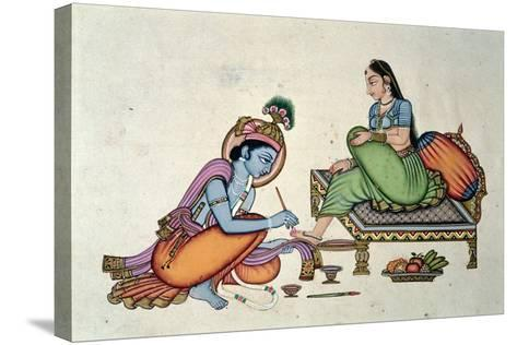 Radha and Krishna-Indian School-Stretched Canvas Print