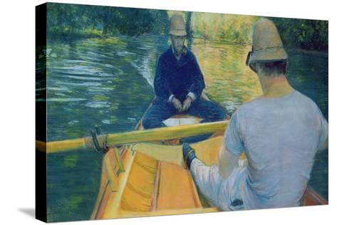 Boaters on the Yerres-Gustave Caillebotte-Stretched Canvas Print