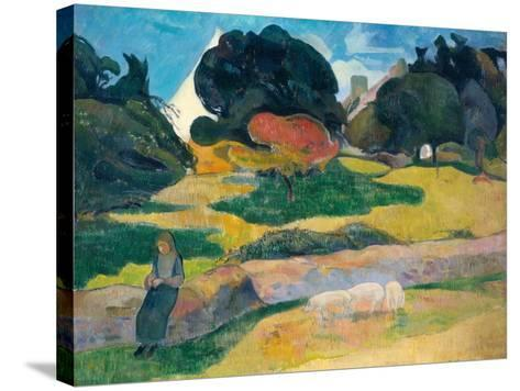 Girl Herding Pigs, 1889-Paul Gauguin-Stretched Canvas Print