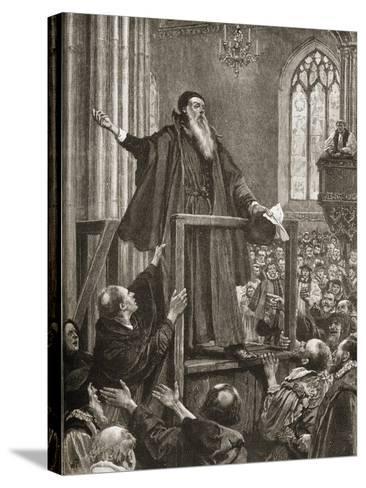 Thomas Cranmer's (1489-1556) Last Testimony--Stretched Canvas Print