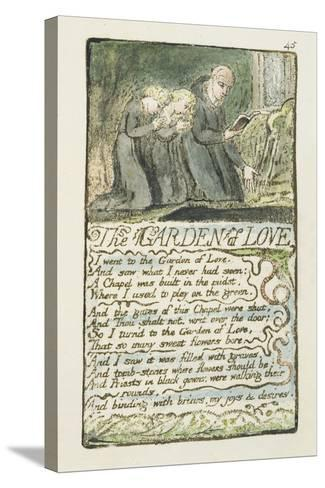 'The Garden of Love', Plate 45 from 'Songs of Innocence and of Experience', 1789-94-William Blake-Stretched Canvas Print