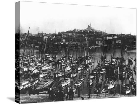 The Old Port and Notre-Dame De La Garde at Marseille, C.1900--Stretched Canvas Print