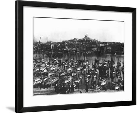 The Old Port and Notre-Dame De La Garde at Marseille, C.1900--Framed Art Print