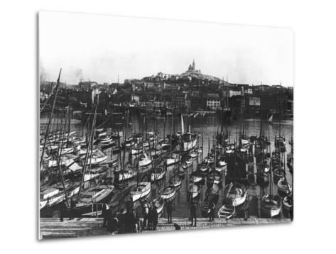 The Old Port and Notre-Dame De La Garde at Marseille, C.1900--Metal Print
