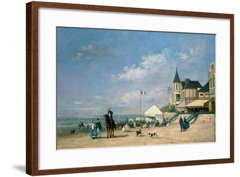 The Beach at Trouville, 1863-Eug?ne Boudin-Framed Art Print