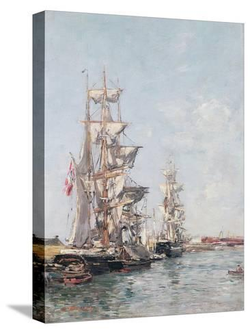 Three-Masted Boats at the Quay in Deauville Harbour, C.1888-89-Eug?ne Boudin-Stretched Canvas Print