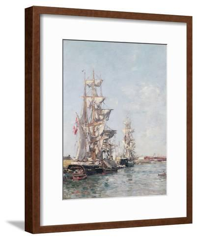 Three-Masted Boats at the Quay in Deauville Harbour, C.1888-89-Eug?ne Boudin-Framed Art Print